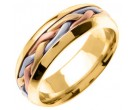 Tri Color Gold Hand Braided Wedding Band 7mm TC-260B