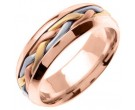 Tri Color Gold Hand Braided Wedding Band 7mm TC-260C