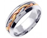 Tri Color Gold Hand Braided Wedding Band 7mm TC-260A