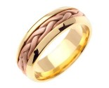Two Tone Gold Hand Braided Wedding Band 7mm TT-260B