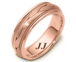 Rose Gold Hand Braided Wedding Band 6.5mm RG-261
