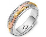 Tri Color Gold Hand Braided Wedding Band 6.5mm TC-261A