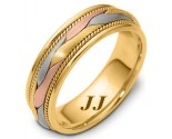 Tri Color Gold Hand Braided Wedding Band 6.5mm TC-261B