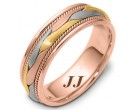 Tri Color Gold Hand Braided Wedding Band 6.5mm TC-261C