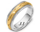 Two Tone Gold Hand Braided Wedding Band 6.5mm TT-261A