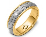 Two Tone Gold Hand Braided Wedding Band 6.5mm TT-261C