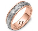 Two Tone Gold Hand Braided Wedding Band 6.5mm TT-261D