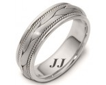 White Gold Hand Braided Wedding Band 6.5mm WG-261