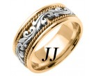 Two Tone Gold Paisley Wedding Band 9mm TT-259C