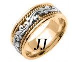 Two Tone Gold Paisley Wedding Band 8mm TT-265C