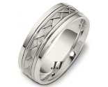 White Gold Hand Braided Wedding Band 6.5mm WG-264
