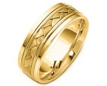 Yellow Gold Hand Braided Wedding Band 6.5mm YG-264