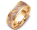 Tri Color Gold Hand Braided Wedding Band 6.5mm TC-264A