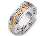 Tri Color Gold Hand Braided Wedding Band 6.5mm TC-264B