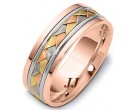 Tri Color Gold Hand Braided Wedding Band 6.5mm TC-264C