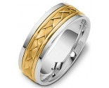 Two Tone Gold Hand Braided Wedding Band 6.5mm TT-264B