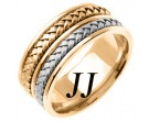 Two Tone Gold Hand Braided Wedding Band 9mm TT-257B