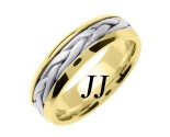 Two Tone Gold Hand Braided Wedding Band 7mm TT-260C