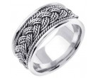 White Gold Hand Braided Wedding Band 10mm WG-269