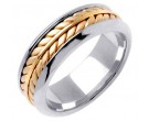 Two Tone Gold Ivy Leaf Wedding Band 8mm TT-271A