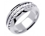 White Gold Ivy Leaf Wedding Band 8mm WG-271