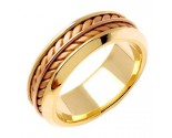 Two Tone Gold Ivy Leaf Wedding Band 8mm TT-271B