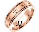 Rose Gold Cross Wedding Band 7mm RG-273