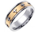 Two Tone Gold Cross Wedding Band 7mm TT-273A