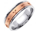 Two Tone Gold Cross Wedding Band 7mm TT-273B
