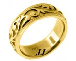 Yellow Gold Paisley Wedding Band 7mm YG-276
