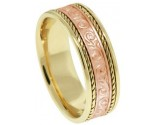 Two Tone Gold Paisley Wedding Band 7mm TT-298A