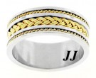 Two Tone Gold Dual Braided Wedding Band 10mm TT-300