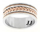 Two Tone Gold Dual Braided Wedding Band 10mm RT-300