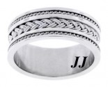 White Gold Dual Braided Wedding Band 10mm WG-300