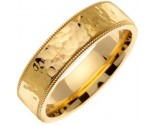 Yellow Gold Hammered Wedding Band 7mm YG-351