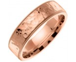 Rose Gold Hammered Wedding Band 7mm RG-351