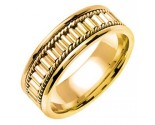 Yellow Gold Bullet Braided Wedding Band 7mm YG-352