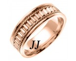 Rose Gold Bullet Braided Wedding Band 7mm RG-352