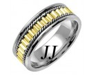 Two Tone Gold Bullet Braided Wedding Band 7mm TT-352A