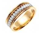 Two Tone Gold Bullet Braided Wedding Band 7mm TT-352B