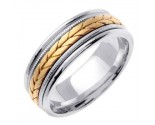Two Tone Gold Hand Braided Wedding Band 7mm TT-355B