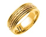 Yellow Gold Hand Braided Wedding Band 7mm YG-355