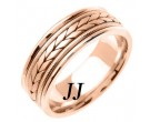 Rose Gold Hand Braided Wedding Band 7mm RG-355