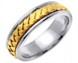 Two Tone Gold Hand Braided Wedding Band 7mm TT-358B