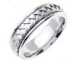 White Gold Hand Braided Wedding Band 7mm WG-358