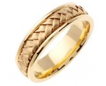 Yellow Gold Hand Braided Wedding Band 7mm YG-358