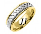 Two Tone Gold Hand Braided Wedding Band 7mm TT-358A