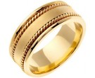 Yellow Gold Hand Braided Wedding Band 8mm YG-359
