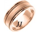 Rose Gold Hand Braided Wedding Band 8mm RG-359