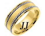 Two Tone Gold Hand Braided Wedding Band 8mm TT-359A